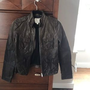 Brown Leather Anthropologie Jacket